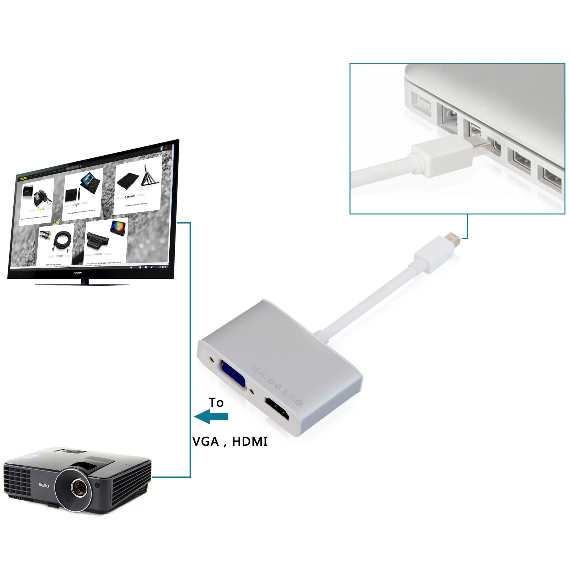 Leicke Kanaan Mini Displayport To Hdmi And Vga Adapter Audio Via Micro Conversion Cable Converter Kn40541 Premium Aluminium Housing 00 2000 Qy 01