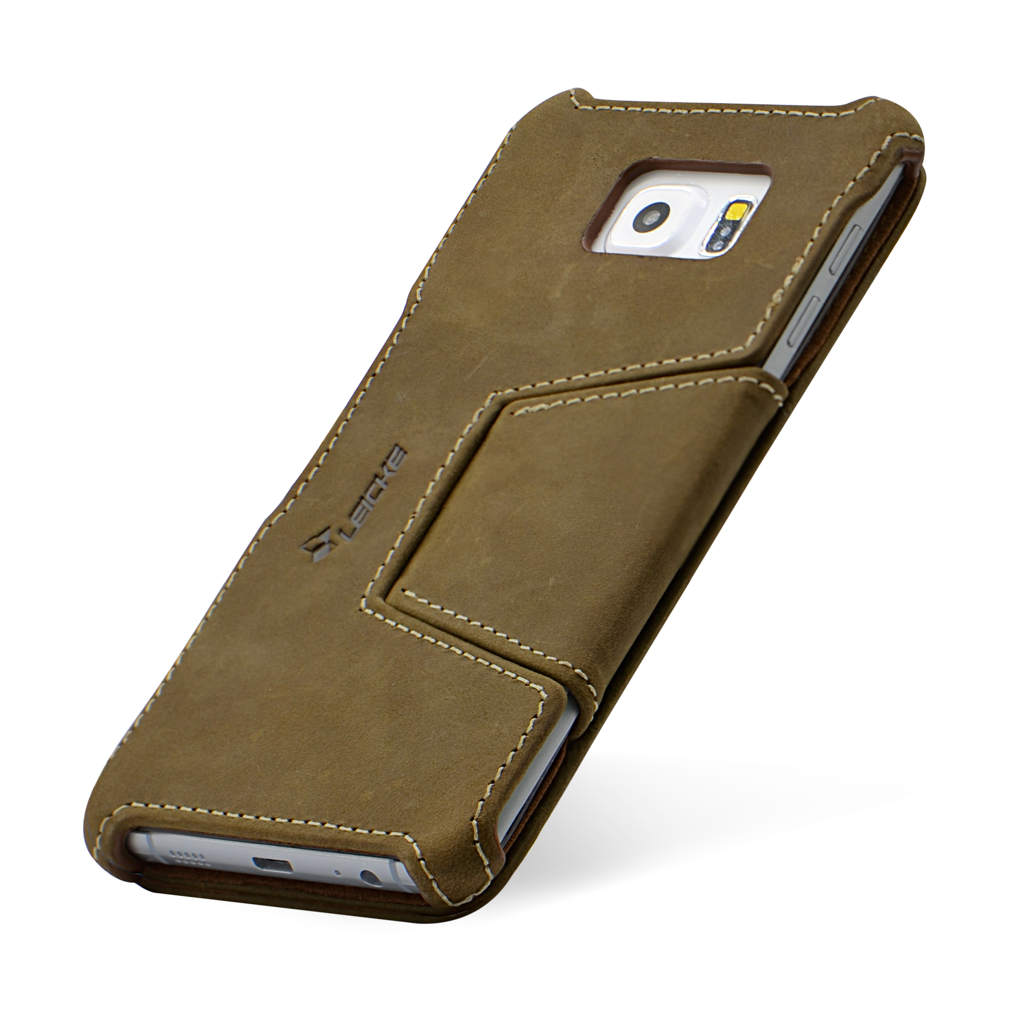 f641bb0707d MANNA UltraSlim Samsung Galaxy S6 Edge Plus Case Protective Cover Wallet  MN60222. EasyStand | Genuine Nubuck Leather | Brown