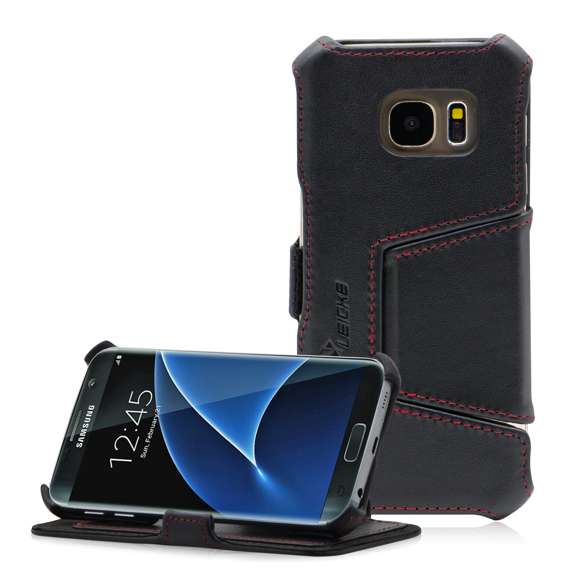 b2e0427ccf8 MANNA UltraSlim Samsung Galaxy S7 Leather Case Book Folio Cover Wallet  MN60242. Easy Stand & Card Slot | Finest Nappa Leather | Black. Mn60242 01  2000 2000 ...