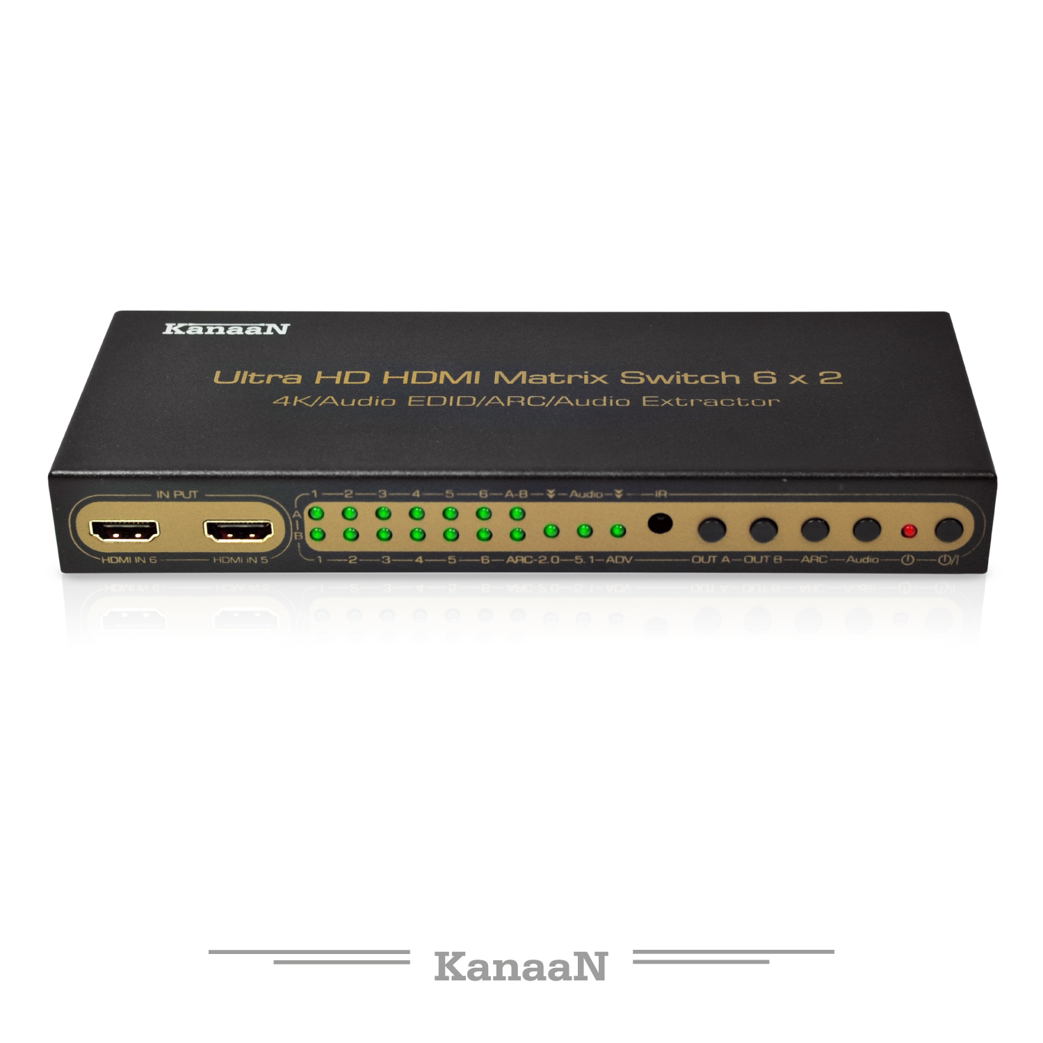Leicke | KanaaN 4K 6x2 HDMI Matrix Switch Splitter | Remote